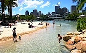 Australia's only city centre beach and incentive travel delegates enjoying sun with dmc brisbane