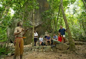 In Australia incentive travel delegates enjoy dreamwalk with indigenous guide in the rainforest with destination management company cairns, UNIQ Travel Australia
