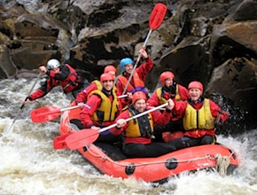 South of Hobart, UNIQ TRavel Australia and dmc Tasmania challenge incentive travel group on the white water rapids
