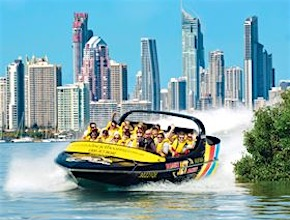 In Australia, on the Gold Coast Incentive Group enjoy jetboat thrill with dmc Brisbane, UNIQ Travel & Incentives Australia